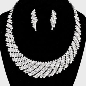 Round Collar Crystal Necklace & Earring Set